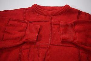 Men-039-s-WISCONSIN-VTG-Medium-Red-Sweater-Made-in-USA-Cotton