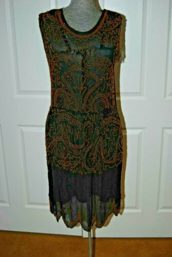 Vintage 1920's Beaded Flapper Dress