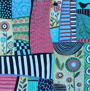 Friday-Delight-24-x-24-x-7-8-ORIGINAL-CANVAS-PAINTING-FOLK-Art-PRIM-Karla-Gerard