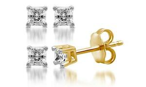531388f49 Details about 1/4 CTTW GSI Certified I2-I3 Princess Diamond Studs 14K  Yellow Gold by DeCarat