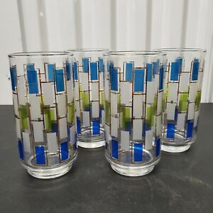 VTG-Mid-Century-Highball-Glasses-Stained-Glass-1960-039-s-Tumblers-Barware-Set-of-4