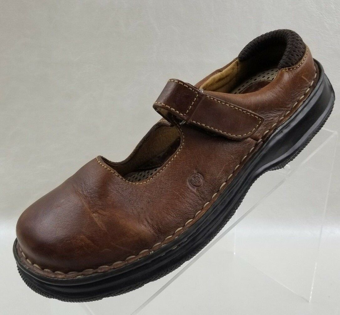 Born Mary Jane Clogs Flats Womens Brown Leather Slip On shoes Size EU 40 US 8.5