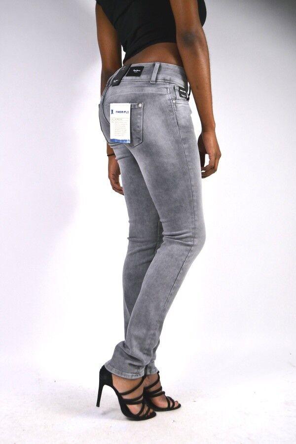 NEU  PEPE Jeans VERA F80 Röhre Hellgrau Regular Waist Slim Fit Jeans W24 L32