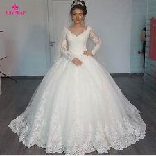 Weiß/Ivory Spitze Langarm Ballkleider Brautkleider Abendkleid Hochzeitskleid