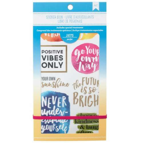 "American Crafts 1654 Piece Inspirational Life Sticker Book Planner 4.75/"" x 9/"""