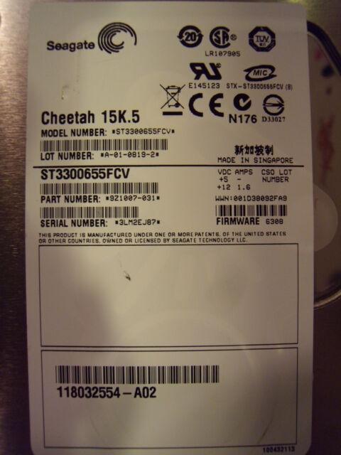 Seagate Cheetah 300GB 15000 RPM Internal Hard Drive ST3300655FCV P/N: 9Z1007-031