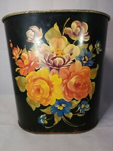 Harvell-Black-Tin-Litho-Toleware-Floral-Oval-Trash-Can-Wastebasket-11in-Vintage
