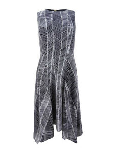 DKNY-Women-039-s-Printed-Handkerchief-Hem-Dress