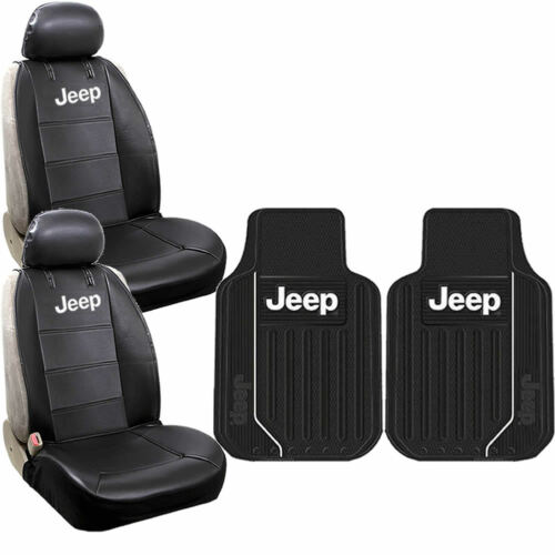 New 6pcs JEEP Elite Style Logo Car Truck Front Seat Covers /& Floor Mats Set