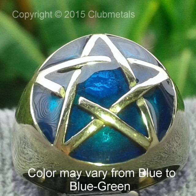 AQUAMARINE BLUE PENTAGRAM PENTACLE MEN'S BRONZE POWER RING Magic Wicca Jewelry