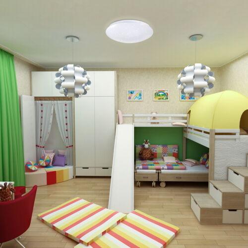 LED Deckenleuchte Runde Deckenlampe mit Sternen-Dekor dimmbar Fernbedienung 18W