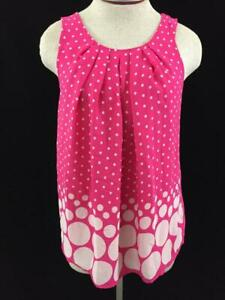 ELLE-sleeveless-top-size-M-medium-pink-polka-dots-lined-ties-in-back