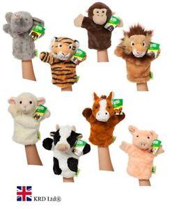 """10"""" Animaux Marionnettes à Main Gant Sauvage Ferme Marionnette Doux Peluche Enfants Bébé Jouet Cadeau Uk Une Grande VariéTé De ModèLes"""