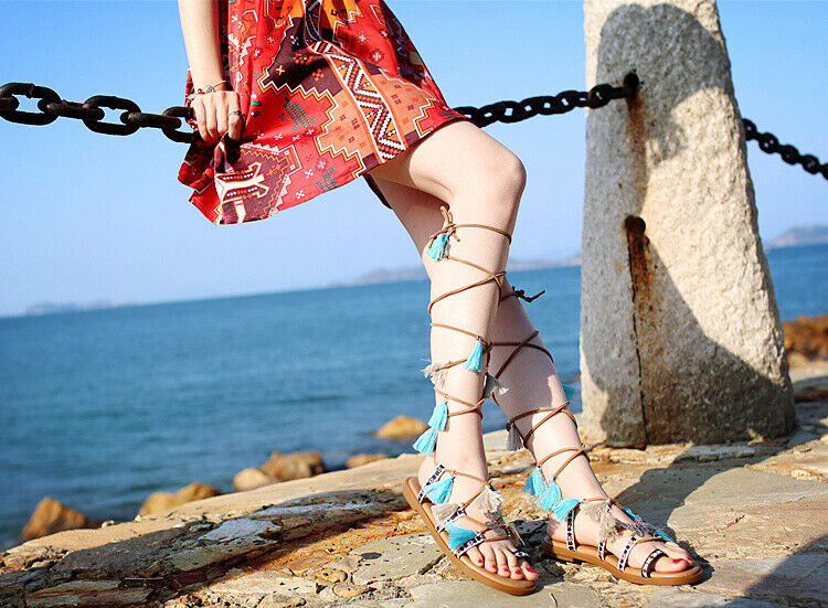 Donna Leather Lace Up Tassels Holiday Beach Flats Sandals Boho Ethnic scarpe New