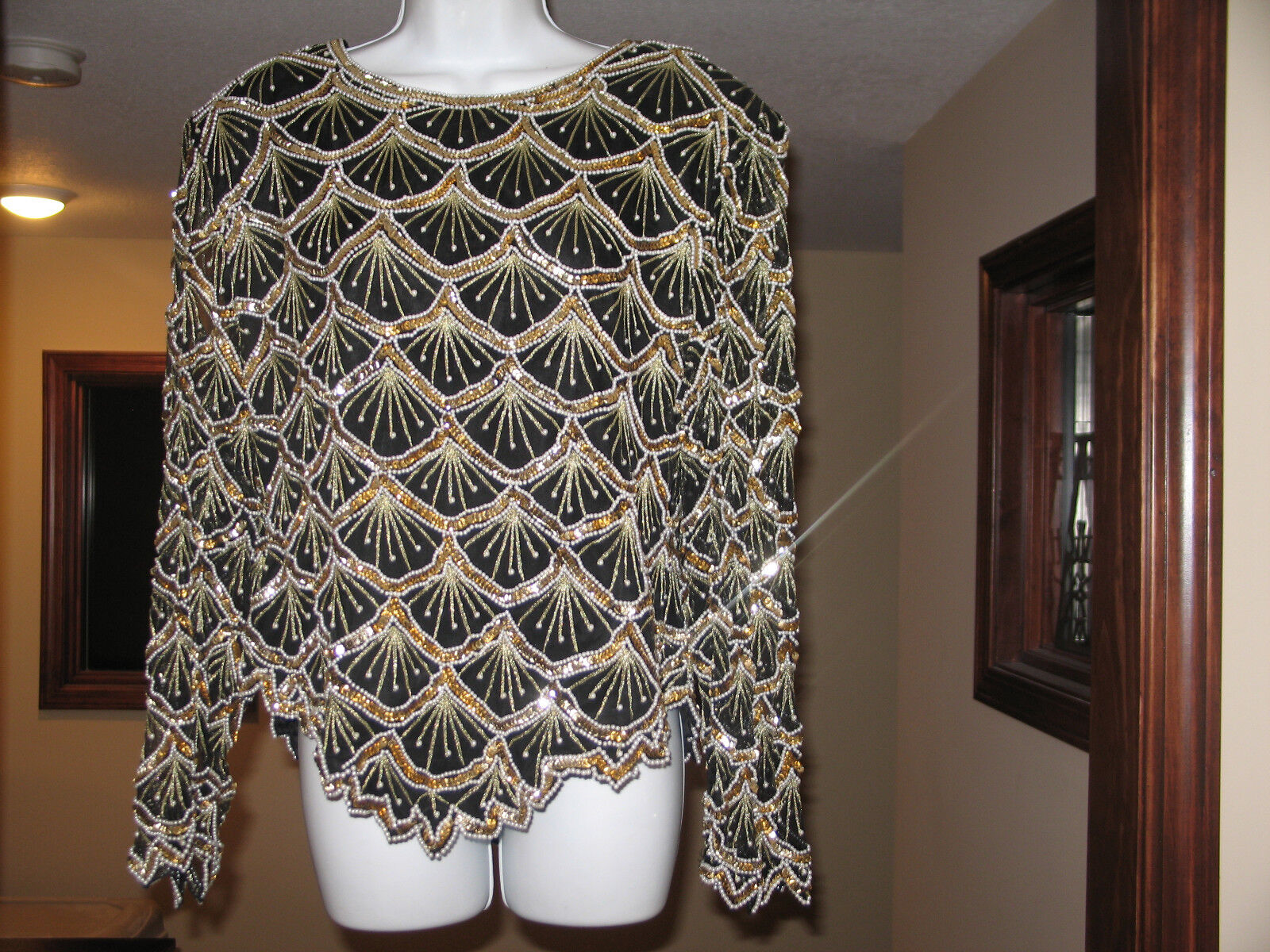 XXL GORGEOUS   LAURENCE KAZAR PEARL BEADS SPARKLING SEQUINS HOLIDAY PARTY TOP