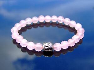 Buddha-Rose-Quartz-Natural-Dyed-Gemstone-Bracelet-6-9-039-039-Elasticated-Healing