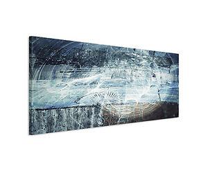Das Bild Wird Geladen  150x50cm Panoramabild Paul Sinus Art Abstrakt Blau Grau