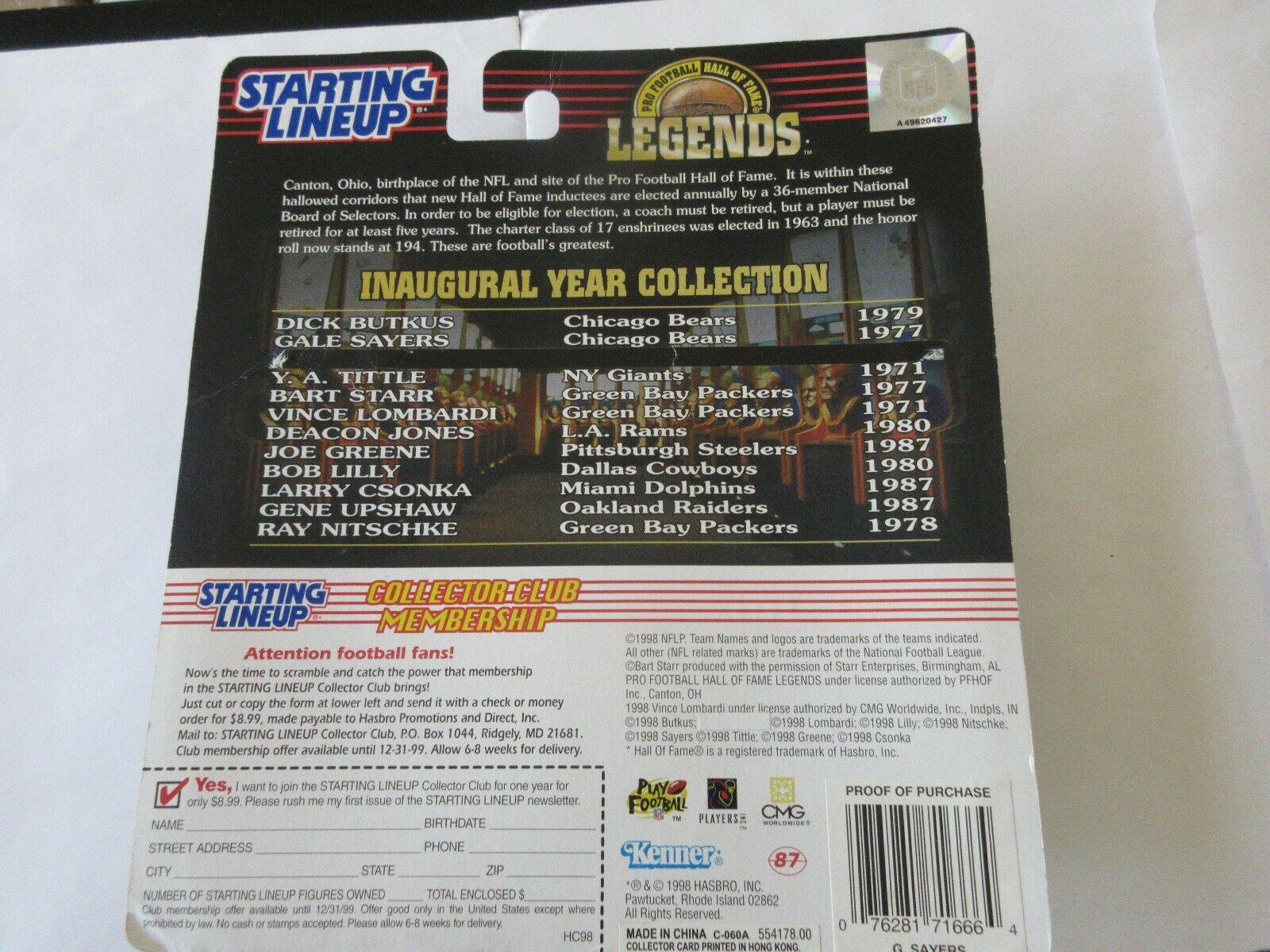Gale Sayers , Starting Lineup , 1998 Hasbro , Sports Su