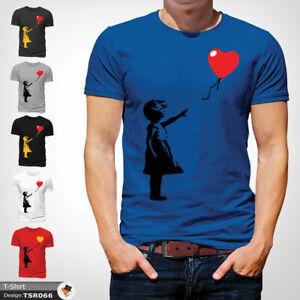 Banksy-Balloon-T-Shirt-Mens-Tshirt-Blue-T-Shirt-Artist-Large-Cotton-XXL-3XL