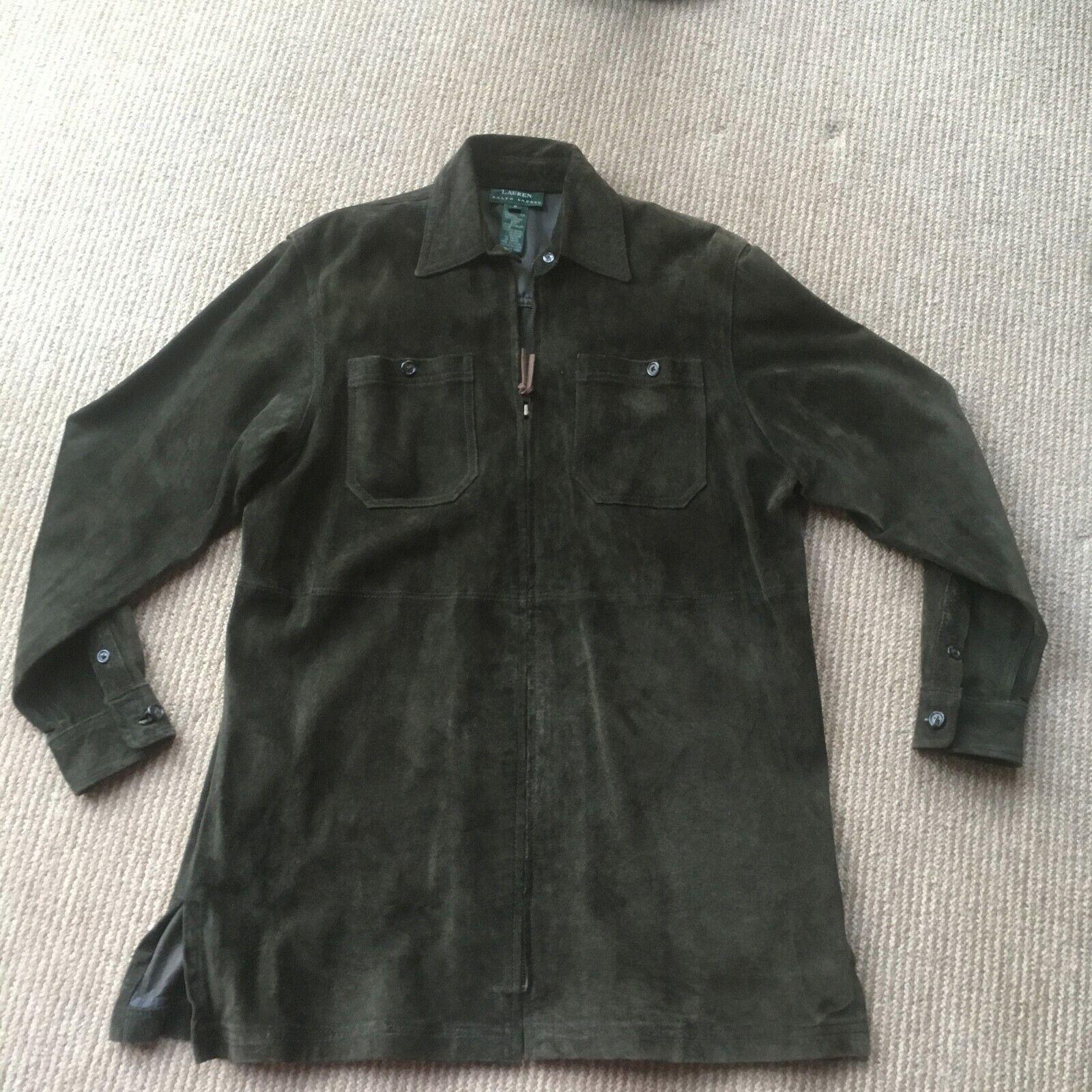 Vintage Ralph Lauren S Women's Suede leather Jacket. Olive Green. Zippered.