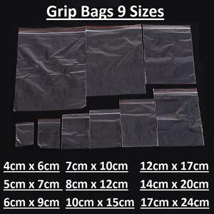 S 100 ZIPPER BAGS CLEAR PLASTIC POLYBAGS SIZE 20CM X 15CM