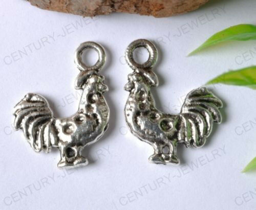 NP12 10Pcs Tibetan Silver Cock Charms Pendants for Jewlery 21MM
