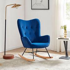 Upholstered Velvet Rocker Rocking Chair Wood Leg Nursery Accent Armchair