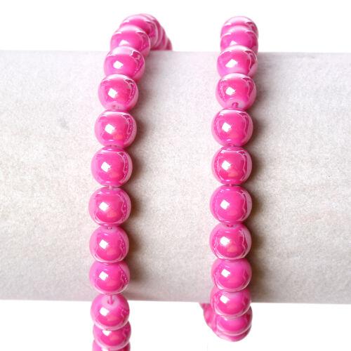 80J STRAND SMOOTH GLOSSY~8mm~FUCHSIA PINK ROUND GLASS BEADS~Bracelet~Necklace