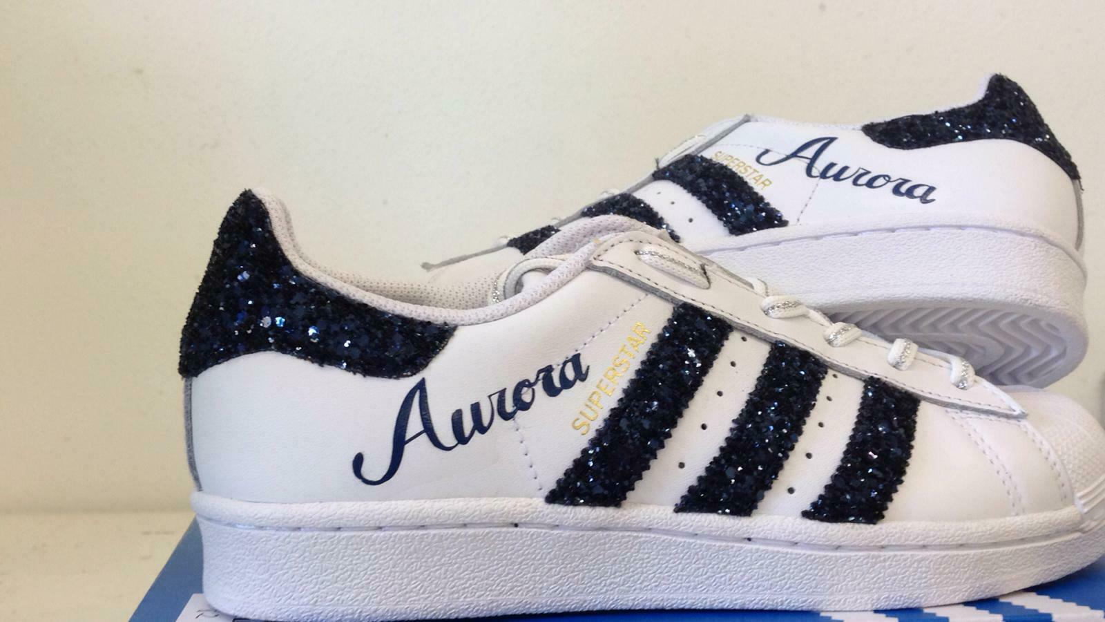 shoes Adidas Superstar with Glitter and bluee Name that You Can Pick Voi
