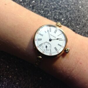 WALTHAM-Vintage-20-039-s-women-039-s-wristwatch-large-gold-amp-porcelain-working-well-Wow