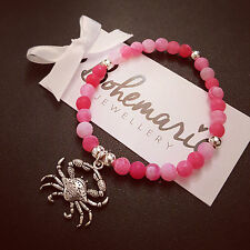 Pink frosted agate crab charm bracelet gemstone summer bijoux jewellery boho