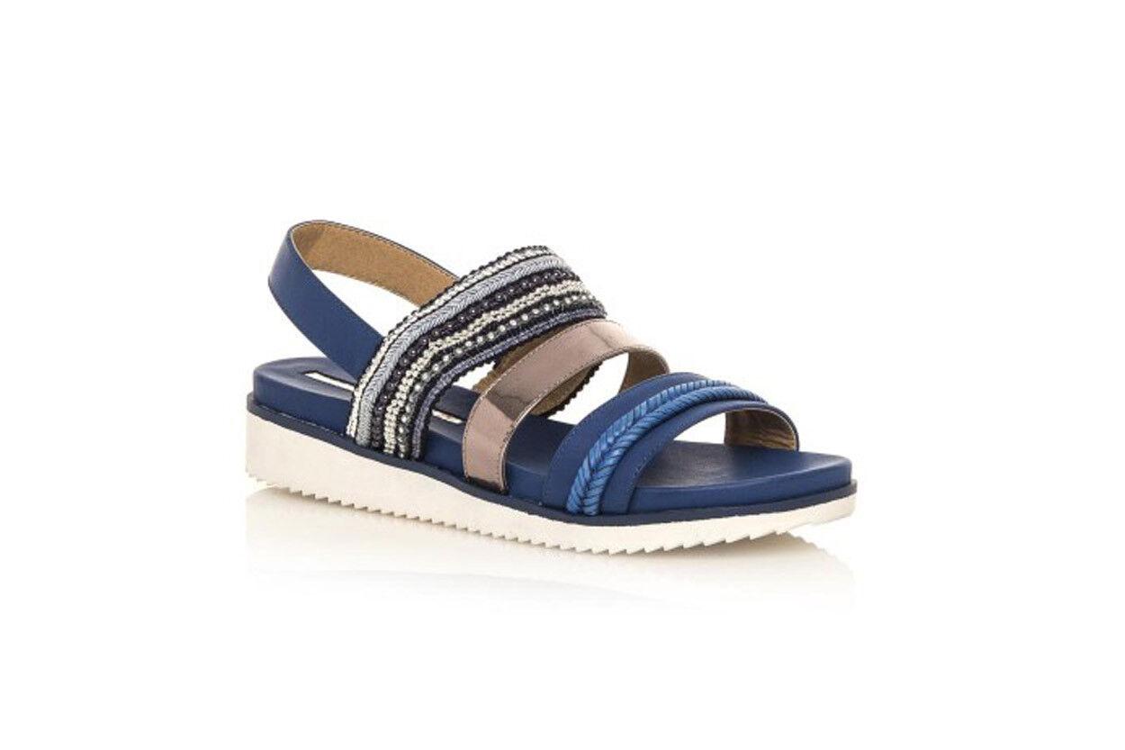 Sandalo donna zeppa media Maria Mare 3 fasce con perline blu n. 40