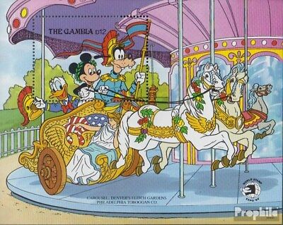 Never Hinged 1989 Walt-disney-f Removing Obstruction Gambia Block79 complete Issue Unmounted Mint