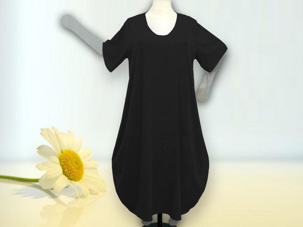 Lagenlook Ballonkleid , Grössen von 48 - 64,Jersey Baumwolle, schwarz