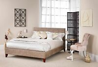 Trinity Buttoned Fabric Bed Fudge, Cream Or Charcoal Double, King, Super King