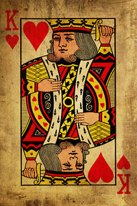 "King of Hearts #2 Canvas Art Poster 16/""x 24/"" Playing Card Poster"