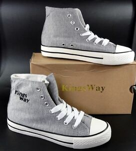 newest ce8d7 5f767 Details zu KingsWay High Sneaker Turnschuhe Stoff Schnürer grau 36 37 38 39  40 41 42 NEU