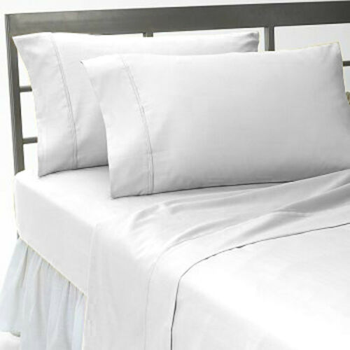 1000TC WHITE SOLID EGYPTIAN COTTON SUPER DEEP POCKET FITTED SHEET /& SHEET SET