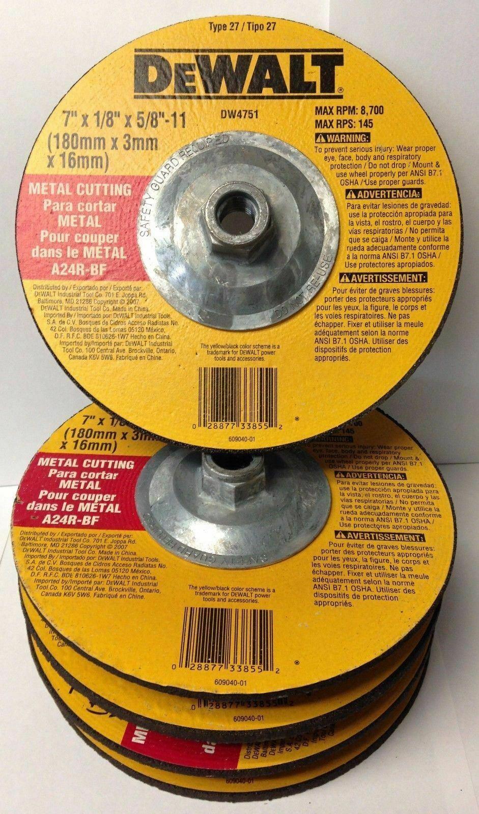 "DeWalt DW8858H XP Metal Cutting Wheel 5//8-11 Arbor 5/"" x 0.045/"" 5pcs Germany"