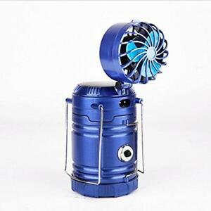 Solar Rechargeable Fan Multi-function LED Light Camping Table Lamp Flashlight