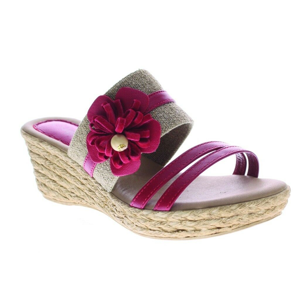 Azura Aketi Slide Made Sandale ROT Wedge Sandale with Flower Made Slide In  Euro 40 4a7d13