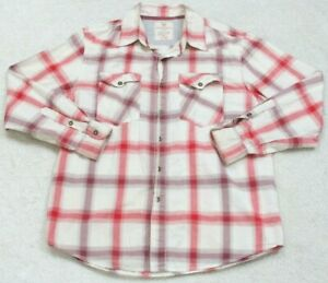Dress-Shirt-Extra-Large-XL-Two-Pocket-Mans-White-Red-Maroon-Route-66-Long-Sleeve