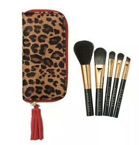 New-Avon-Mini-Brush-Set-Of-5-In-Cheetah-print-Case
