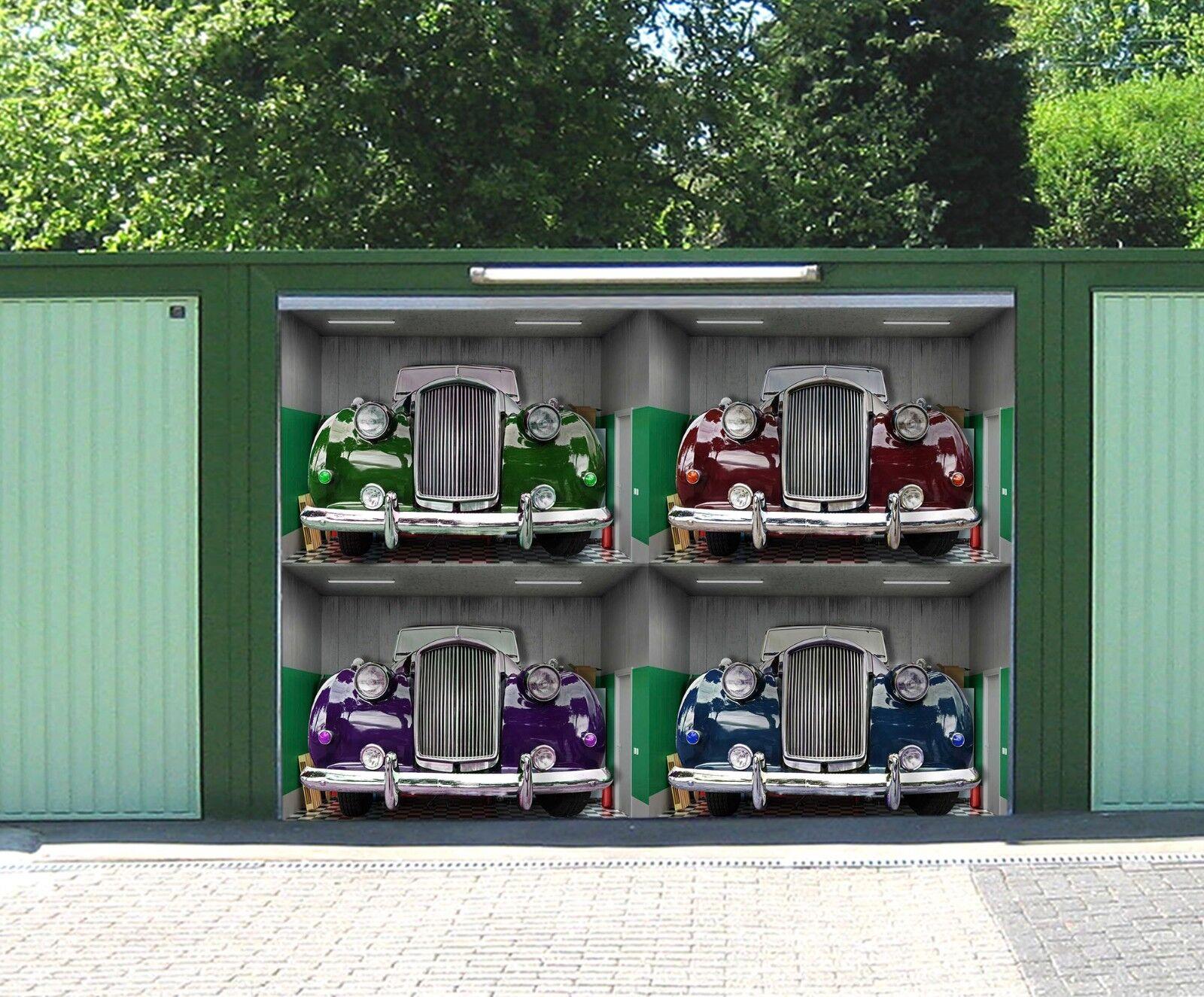 3D Retro Car  84 Garage Door Murals Wall Print Decal Wall AJ WALLPAPER UK Carly