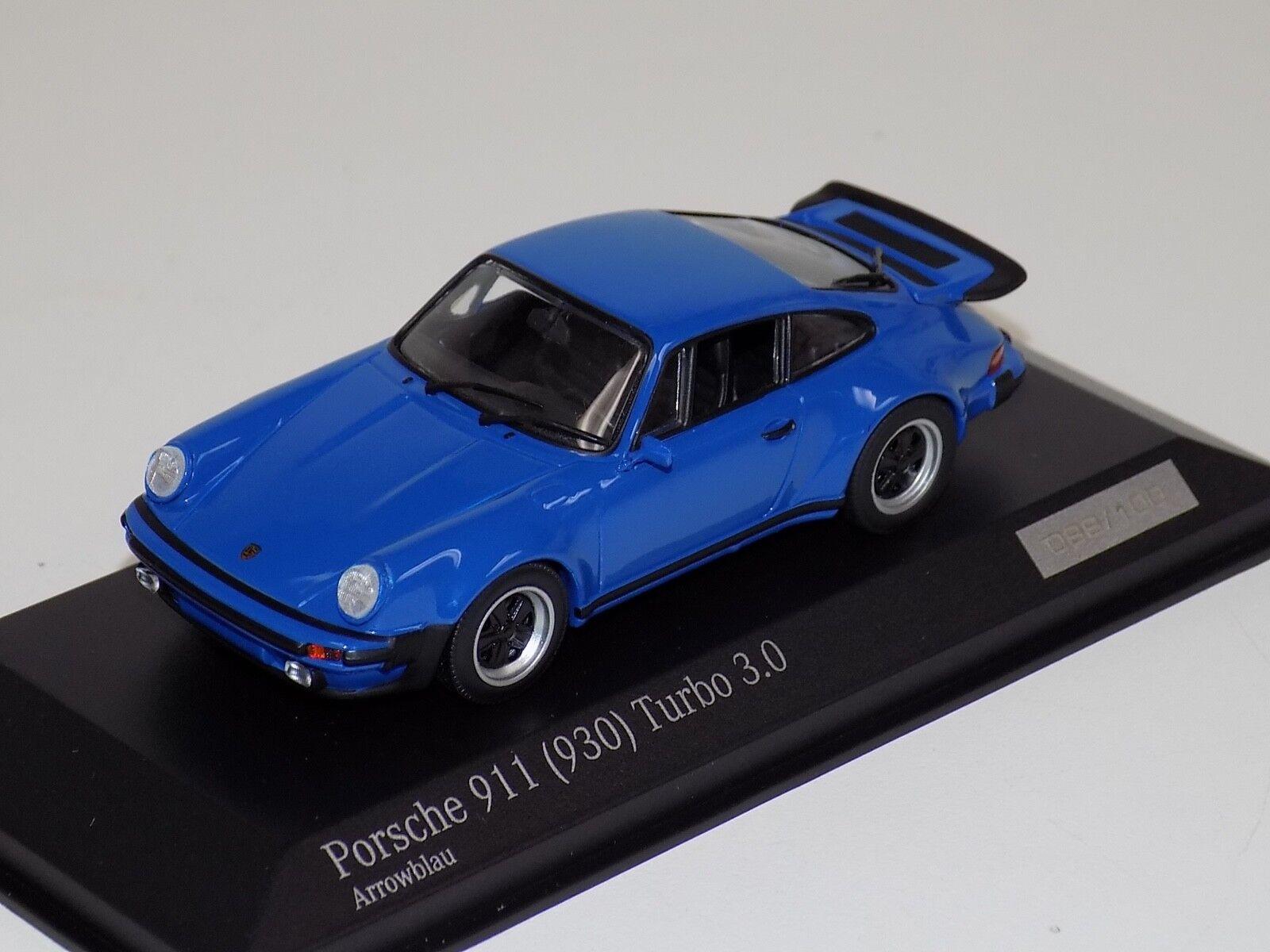 1  43 Minichamps Porsche 911 ( 930 ) Turbo 3.0 blå CA04316028