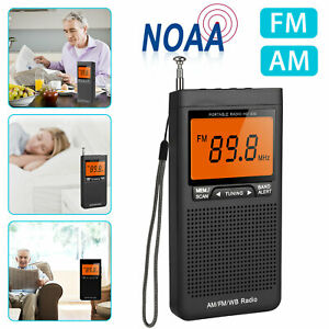 Emergency Pocket NOAA AM FM Weather Radio Compact Portable Auto-Search Battery