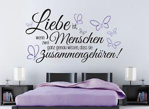 Details zu Liebe ist Hochzeit Schlafzimmer Sprüche Deko Wandaufkleber  Wandspruch WandTattoo