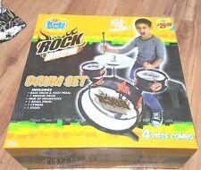 Kids stuff Rock Drum Set: bass drum foot pedal drumsticks cymbal stool new
