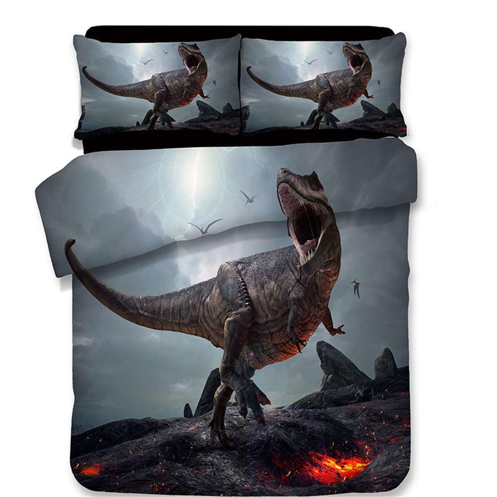 Dinosaurs Open Floodgates 3D Digital Drucken Bettding Duvet Quilt Startseite Pillowcase