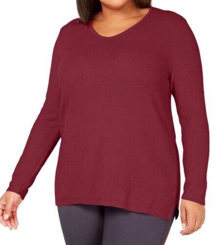 Karen Scott Womens Sweater Red US Size 1X Plus Scoop Neck Knit Tunic $49 #237